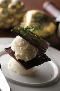 バニラアイスとチョコレートのミルフィーユ仕立ての写真素材 [FYI01666964]