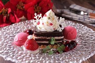 クリスマスチョコレートケーキの写真素材 [FYI01667332]