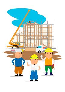 住宅建設の工事現場と働く人たちのイラスト素材 [FYI01667442]
