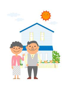 住宅と老夫婦のイラスト素材 [FYI01667502]