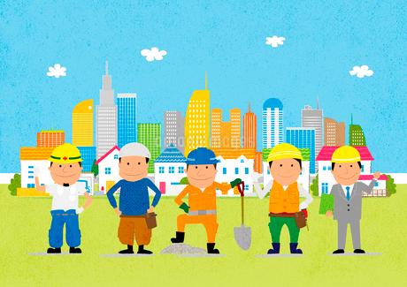 街と工事現場で働く人たちのイラスト素材 [FYI01667557]