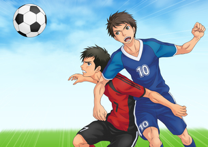 サッカーの試合中に競り合う二人のイラスト素材 [FYI01667636]