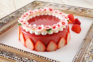 苺のゼリーケーキの写真素材 [FYI01667780]