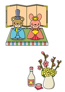 ひな祭りの桃の花と白酒のイラスト素材 [FYI01667903]