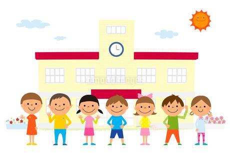 小学生と小学校のイラスト素材 [FYI01667915]