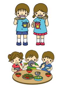 歯みがきをする保育園児とバランスのいい食事をする子供のイラスト素材 [FYI01667918]