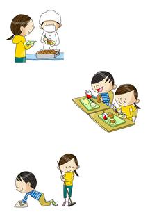 小学校生活 給食と掃除のイラスト素材 [FYI01667930]