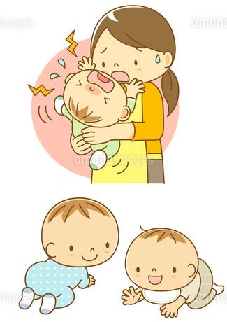 泣いている赤ちゃんをあやすママとはいはいする子のイラスト素材 [FYI01667960] | ストックフォトのamanaimages PLUS