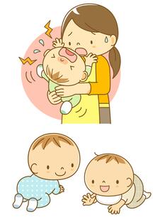 泣いている赤ちゃんをあやすママとはいはいする子のイラスト素材 [FYI01667960]