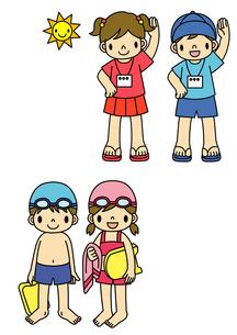 ラジオ体操をする子供と水着でビート板を持つ子供のイラスト素材 [FYI01667982]