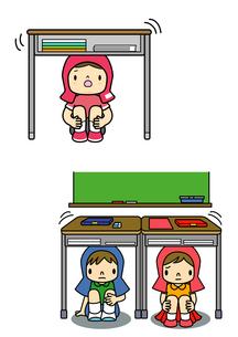 地震が来て机の下に隠れている子供のイラスト素材 [FYI01667989]