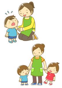 泣いている園児と先生と園児と手をつなぐ先生のイラスト素材 [FYI01668032]