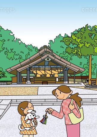出雲大社 神楽殿 縁結びのイラスト素材 [FYI01668037]