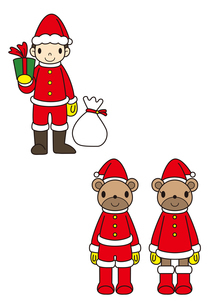 サンタの衣装を着た子供とクマのイラスト素材 [FYI01668049]