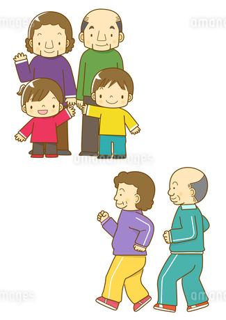 祖父母と孫と運動するおじいさんとおばあさんのイラスト素材 [FYI01668058]