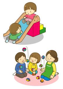 すべりだいをする子供とお手玉をする子供のイラスト素材 [FYI01668065]