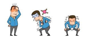 中年男性の症状 発熱 動悸 息切れのイラスト素材 [FYI01668073]
