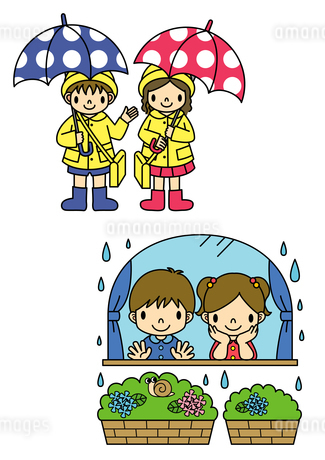 傘をさしているレインコートの子供と雨を眺める子供のイラスト素材 [FYI01668077]