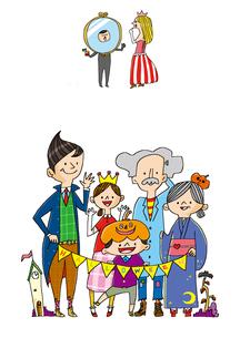 ハロウィンの仮装 ハロウィンの仮装を楽しむ3世代の家族のイラスト素材 [FYI01668079]