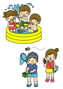 プール遊びとセミとりをしてあそぶ子供たちのイラスト素材 [FYI01668083]