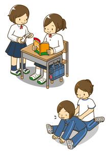 勉強する女子中学生とストレッチする生徒のイラスト素材 [FYI01668085]