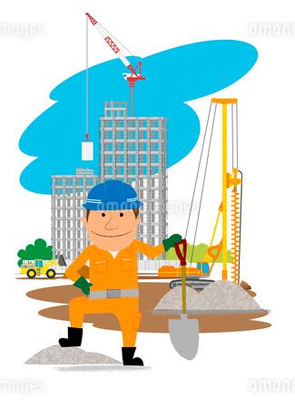 高層マンション建設の工事現場と働く人のイラスト素材 [FYI01668098]