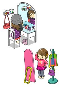 鏡の前でおしゃれをする女の子のイラスト素材 [FYI01668107]