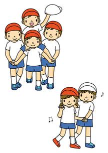 運動会でフォークダンスを踊る小学生と騎馬戦の男の子のイラスト素材 [FYI01668110]