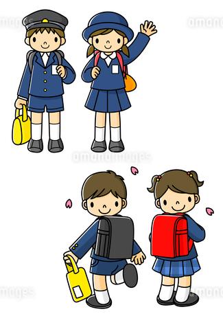 小学校に入学するランドセルを背負った1年生のイラスト素材 [FYI01668121]