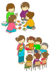 カルタをする子供たちとパペット劇を見る子供たちのイラスト素材 [FYI01668134]