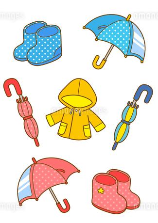 レインコートと傘と長靴などの雨具のイラスト素材 [FYI01668135]