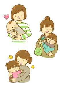 子育てをするママと幼児のイラスト素材 [FYI01668143]