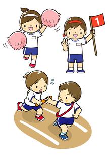 運動会で応援をする子供と1位の子と走る子供のイラスト素材 [FYI01668157]