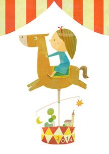 メリーゴーランドに乗る女の子のイラスト素材 [FYI01668172]