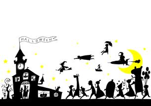 ハロウィンパーティへ向かう仮装した人たちのイラスト素材 [FYI01668174]