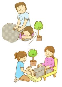 整体マッサージと足裏のツボ押しを受ける女性のイラスト素材 [FYI01668184]