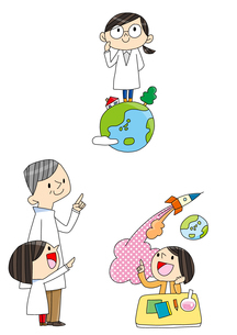理科教室 プログラミング教育 白衣を着た女の子 地球に立つ子のイラスト素材 [FYI01668186]
