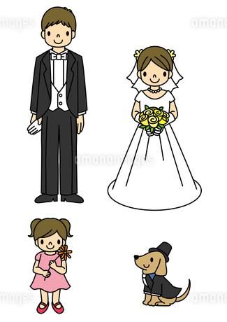 ウエディング姿の新郎新婦と女の子と犬のイラスト素材 [FYI01668201]