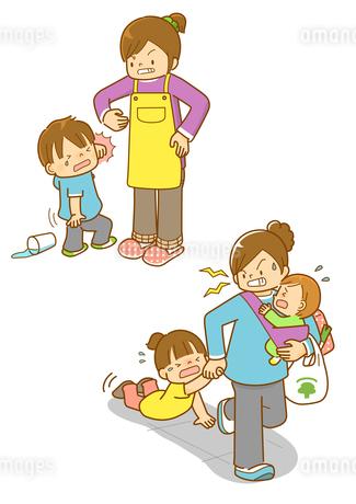 育児ノイローゼで子供を虐待する親のイラスト素材 [FYI01668204]