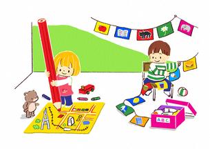 地図を描く女の子と旗を飾る男の子のイラスト素材 [FYI01668219]