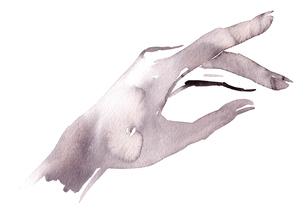 水彩で描かれたモノクロの手のイラスト素材 [FYI01668222]