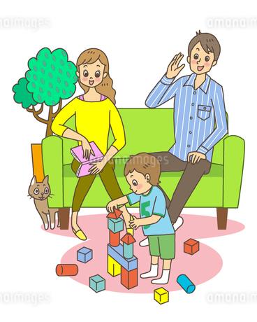 積み木で遊ぶ親子のイラスト素材 [FYI01668223]
