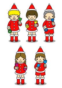 クリスマスの衣装を着てハンドベルを演奏する子供たちのイラスト素材 [FYI01668224]