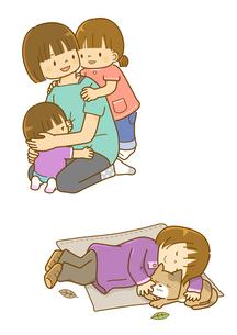 お母さんに甘える子供たちと昼寝をする子と猫のイラスト素材 [FYI01668226]
