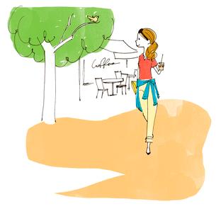 コーヒーを持って散歩をする女性のイラスト素材 [FYI01668227]