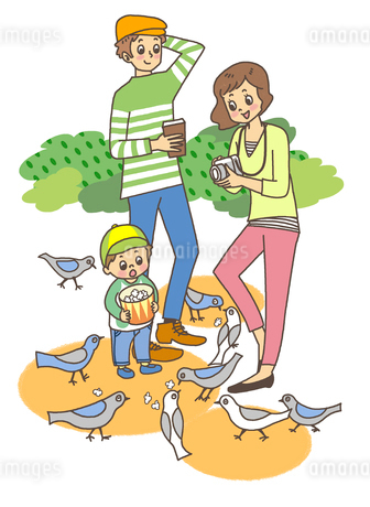 鳩と親子のイラスト素材 [FYI01668235]