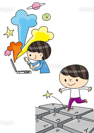 プログラミング教育 PC操作をする子 創造を膨らませるのイラスト素材 [FYI01668236]