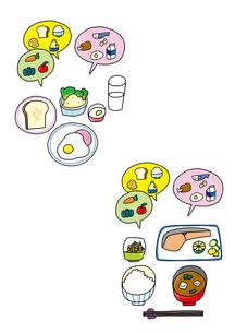 食育 和食 洋食 栄養のバランスのイラスト素材 [FYI01668246]