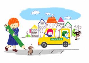 鉛筆を持つ小学生とスクールバスに乗るこどものイラスト素材 [FYI01668247]