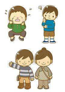 泣いている男の子と考えている男の子と子供たちのイラスト素材 [FYI01668261]